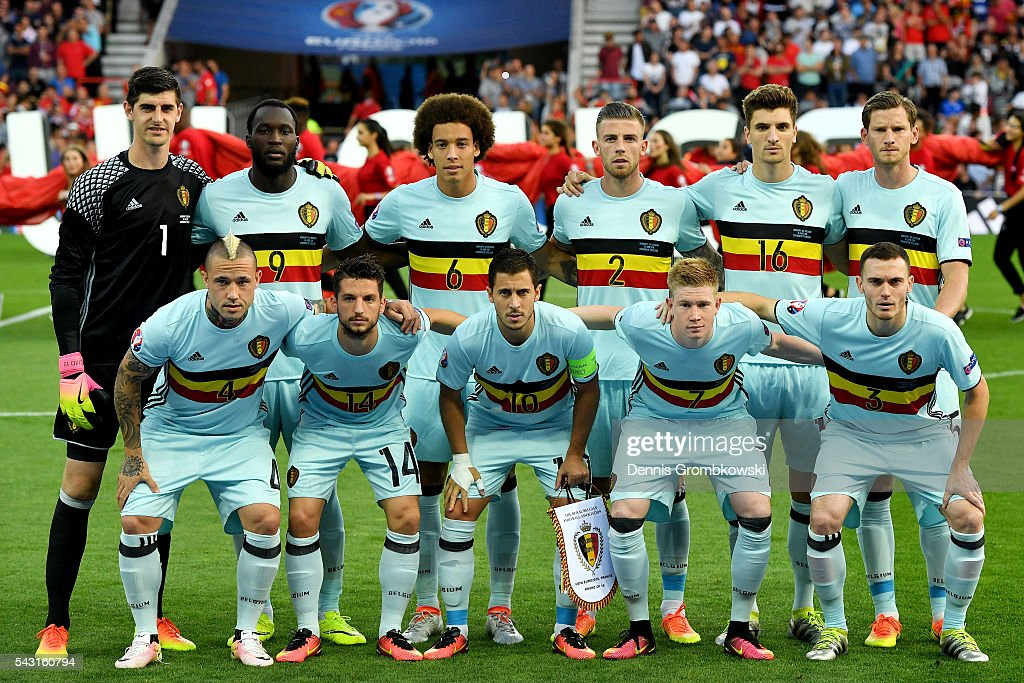 Belgium players line up for the team photos prior to the UEFA EURO 2016 round of 16 match bewtween Hungary and Belgium at Stadium Municipal on June 26, 2016 in Toulouse, France.