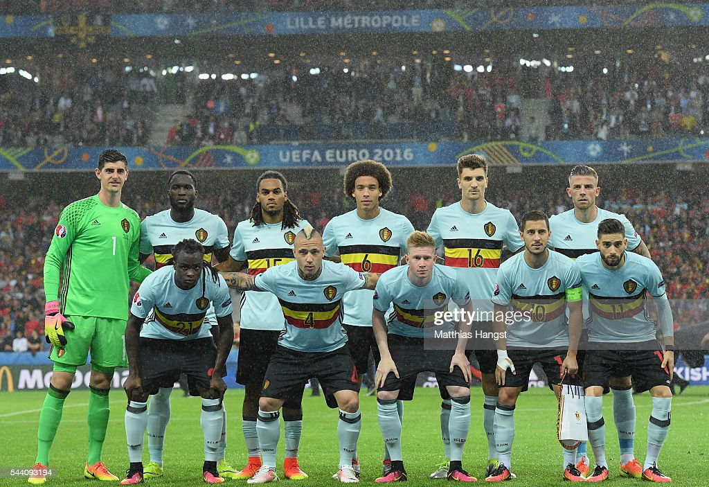 Belgium players line up for the team photos prior to the UEFA EURO 2016 quarter final match between Wales and Belgium at Stade Pierre-Mauroy on July 1, 2016 in Lille, France.