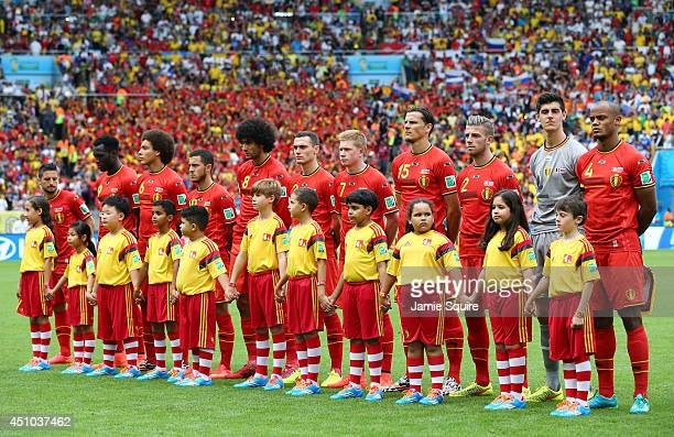 Belgium players line up on the field prior to the 2014 FIFA World Cup Brazil Group H match between Belgium and Russia at Maracana on June 22 2014 in...