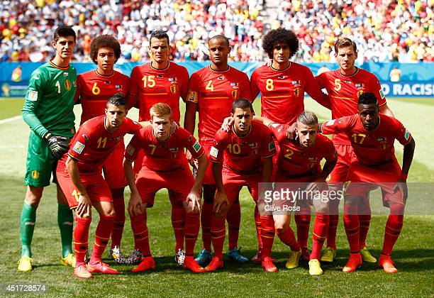 Belgium pose for a team photo prior to the 2014 FIFA World Cup Brazil Quarter Final match between Argentina and Belgium at Estadio Nacional on July 5...