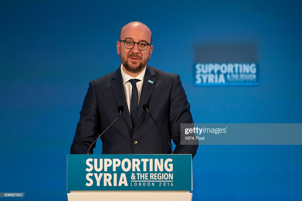 Belgium Prime Minister <a gi-track='captionPersonalityLinkClicked' href=/galleries/search?phrase=Charles+Michel+-+Homme+politique&family=editorial&specificpeople=13722663 ng-click='$event.stopPropagation()'>Charles Michel</a> makes a pledge during the second co-host chaired thematic pledging session for jobs and economic development at the 'Supporting Syria and the Region' conference at the Queen Elizabeth II Conference Centre on February 4, 2016 in London, England. World leaders including British Prime Minister David Cameron and German Chancellor Angela Merkel will gather for the 4th annual donor conference in an attempt to raise £6.2bn GBP to those affected by the war in Syria.