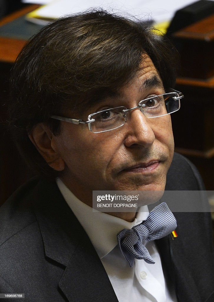 Belgium Prime Minister Elio Di Rupo (PS) delivers a speech at a plenary session of the Chamber at the federal parliament in Brussels on May 30, 2013. DOPPAGNE