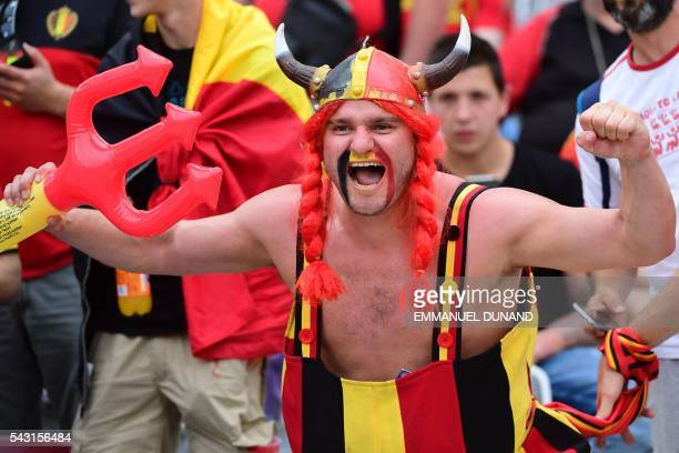 A Belgium supporter cheers prior to the Euro 2016 round of 16 football match between Hungary and Belgium at the Stadium Municipal in Toulouse on June...