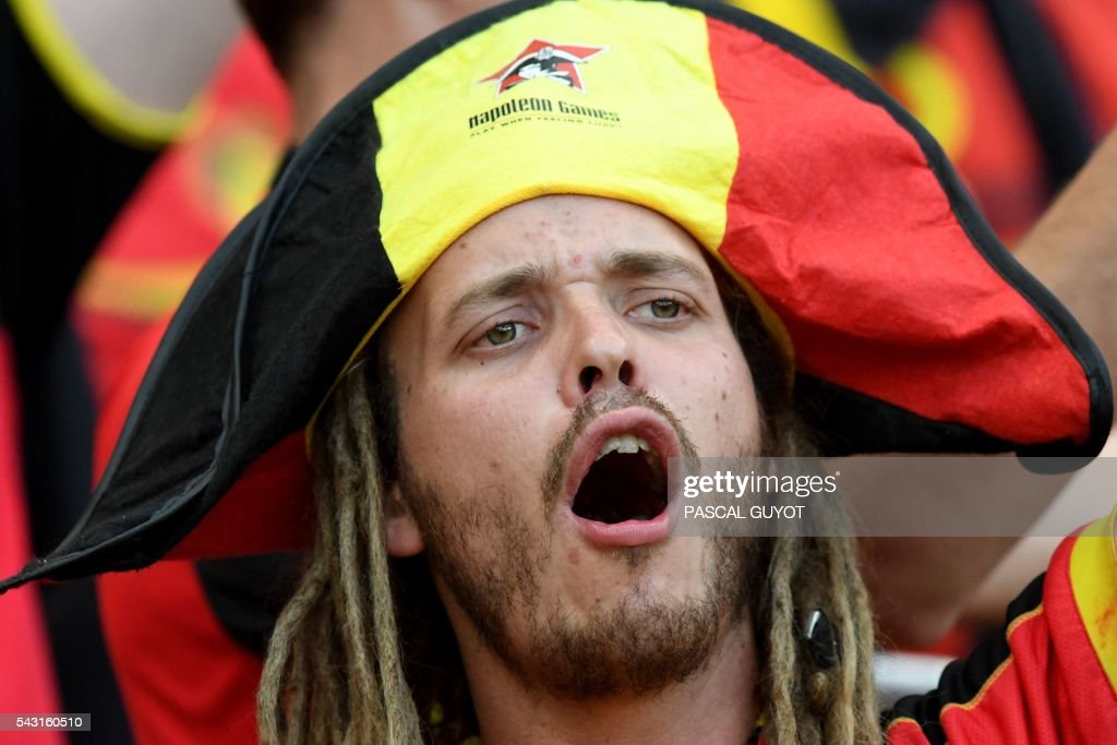 A Belgium supporter cheers prior to the Euro 2016 round of 16 football match between Hungary and Belgium at the Stadium Municipal in Toulouse on June 26, 2016. / AFP / PASCAL