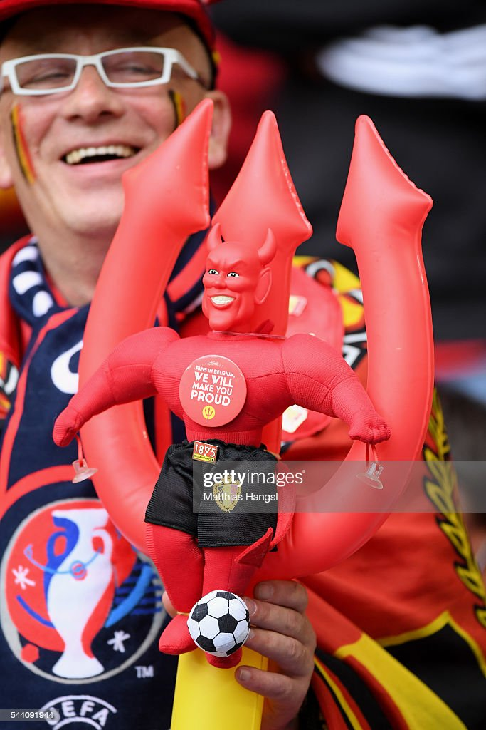 A Belgium supporter enjoys the atmosphere prior to the UEFA EURO 2016 quarter final match between Wales and Belgium at Stade Pierre-Mauroy on July 1, 2016 in Lille, France.