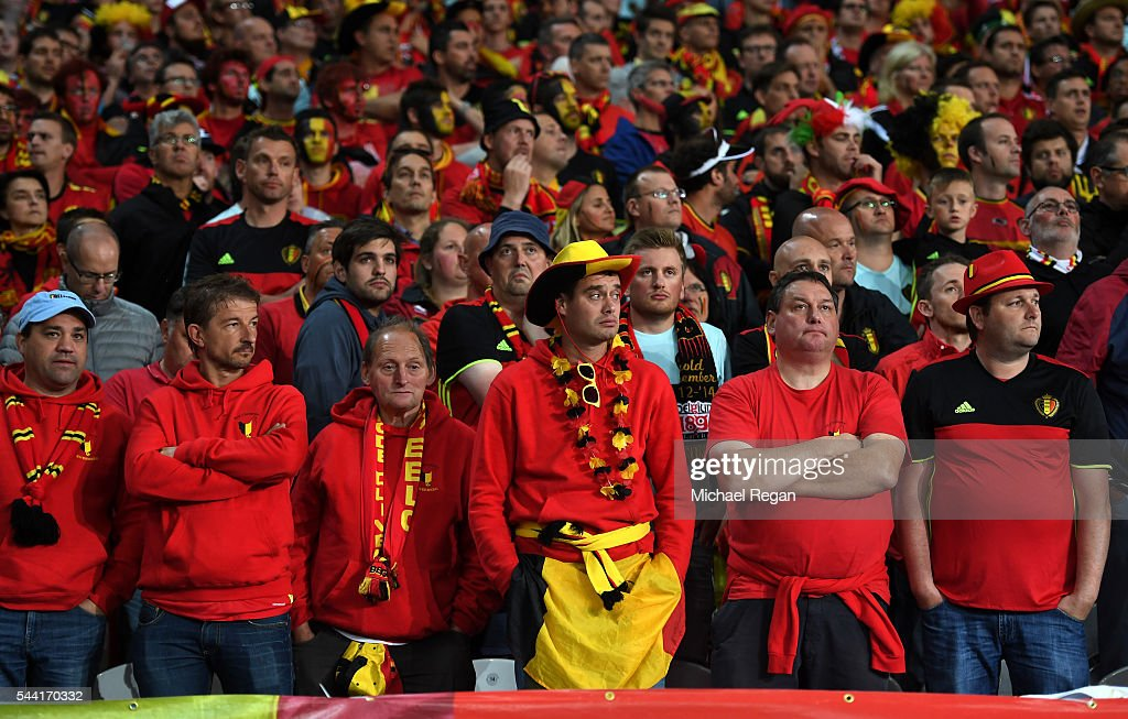 Belgium supporters are seen during the UEFA EURO 2016 quarter final match between Wales and Belgium at Stade Pierre-Mauroy on July 1, 2016 in Lille, France.