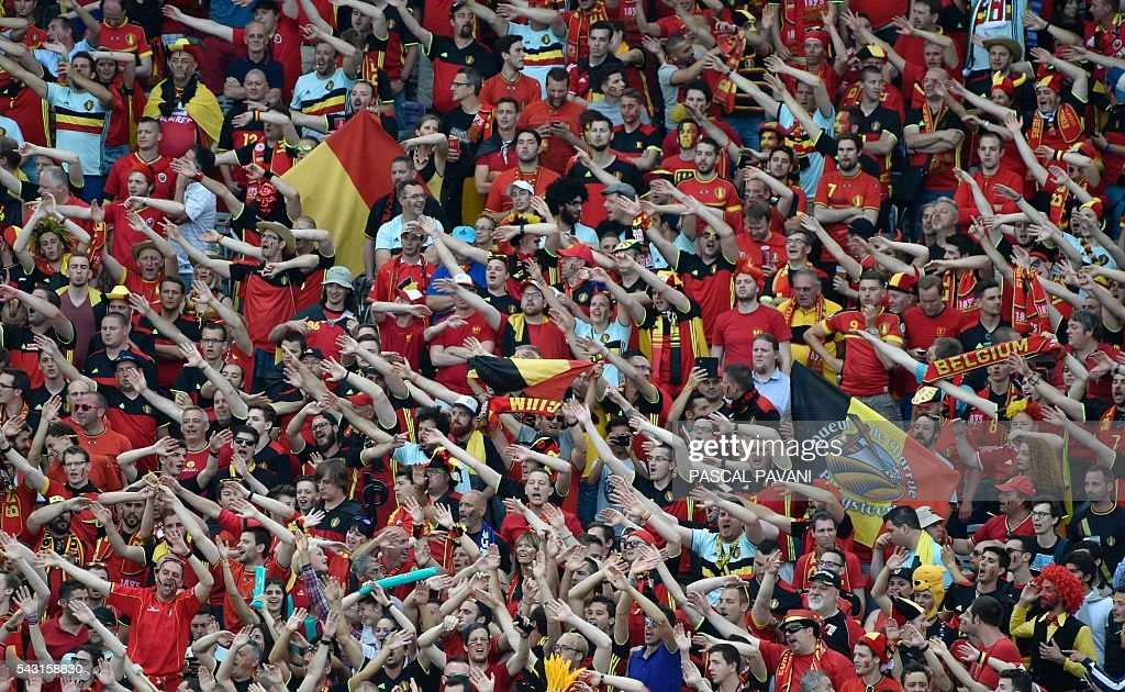 Belgium supporters cheer during the Euro 2016 round of 16 football match between Hungary and Belgium at the Stadium Municipal in Toulouse on June 26, 2016. / AFP / Pascal PAVANI
