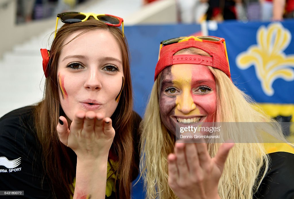 Belgium supporters enjoy the atmosphere prior to the UEFA EURO 2016 round of 16 match bewtween Hungary and Belgium at Stadium Municipal on June 26, 2016 in Toulouse, France.