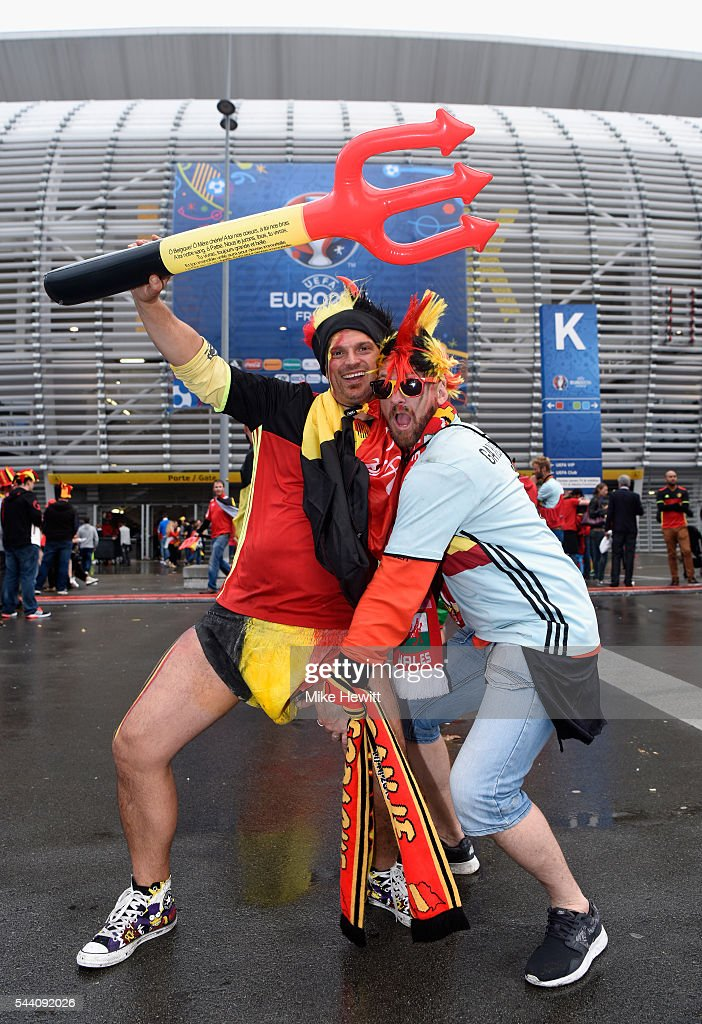 Belgium supporters enjoy the atmosphere prior to the UEFA EURO 2016 quarter final match between Wales and Belgium at Stade Pierre-Mauroy on July 1, 2016 in Lille, France.