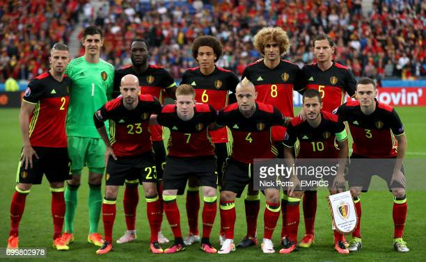 Belgium team group Toby Alderweireld Thibaut Courtois Romelu Lukaku Axel Witsel Marouane Fellaini and Jan Vertonghen Bottom Laurent Ciman Kevin De...