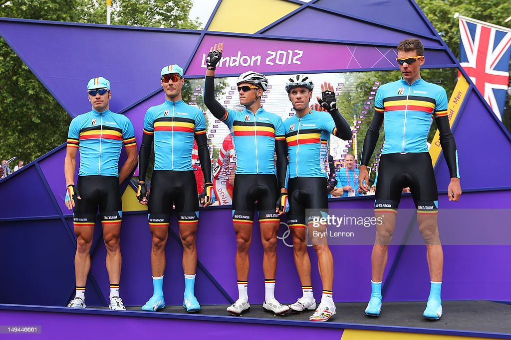 Belgium team pose ahead of the Men's Road Race Road Cycling on day 1 of the London 2012 Olympic Games on July 28, 2012 in London, England.