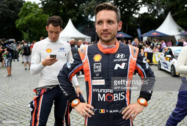 Belgium Thierry Neuville and his codriver Belgium Nicolas Gilsoul attend the official start of the Rally of Germany in Saarbruecken Germany on August...