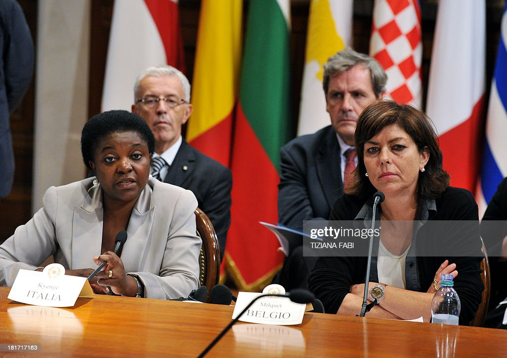 Belgium vice Prime minister Joelle Milquet (R) and Italy's minister for Integration Cecile Kyenge (L) give a press conference following a meeting gathering European Equality ministers at Chigi Palace in Rome on September 23, 2013. The ministers should sign a declaration against racism. AFP PHOTO / TIZIANA FABI