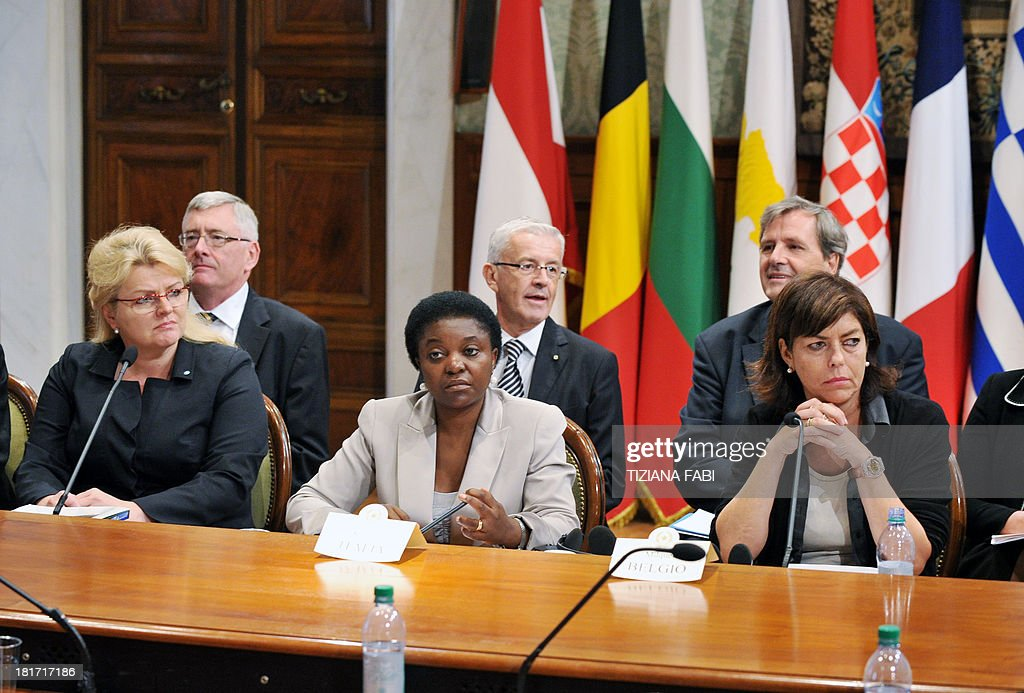 Belgium vice Prime minister Joelle Milquet (R) and Italy's minister for Integration Cecile Kyenge (C) give a press conference following a meeting gathering European Equality ministers at Chigi Palace in Rome on September 23, 2013. The ministers should sign a declaration against racism.
