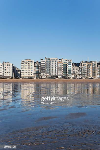 Belgium, View of Ostend beach and promenade with costal high rises