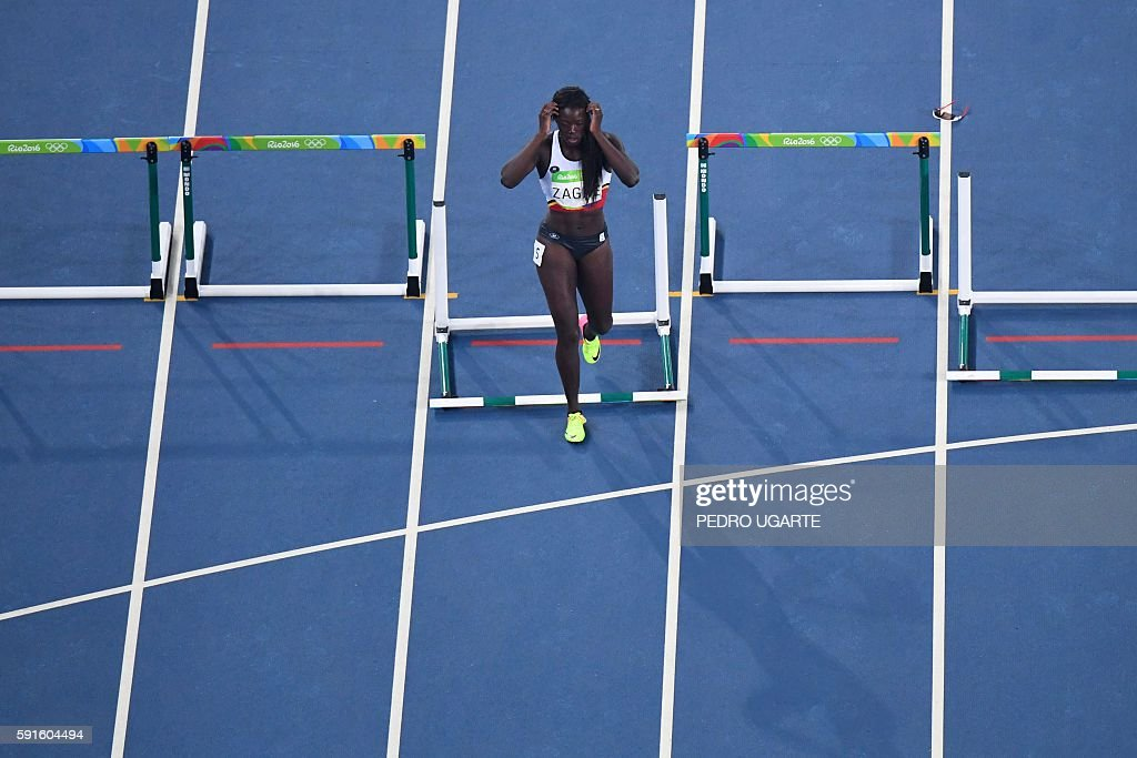 TOPSHOT Belgium's Anne Zagre looks on after being disqualified in the Women's 100m Hurdles Semifinal during the athletics event at the Rio 2016...