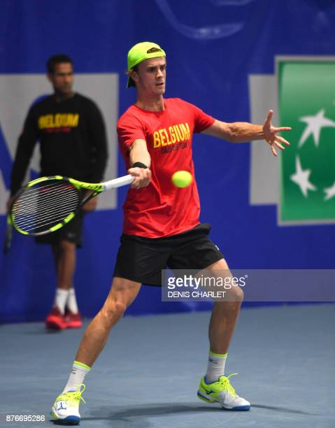 Belgium's Arthur De Greef takes part in a training session of the Belgian Davis Cup Tennis team on November 20 2017 in MarcqenBaroeul ahead of the...