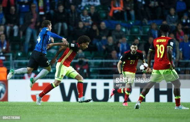 Belgium's Axel Witsel vies with Estonia's Konstantin Vassiljev during the FIFA World Cup 2018 qualification football match between Estonia and...