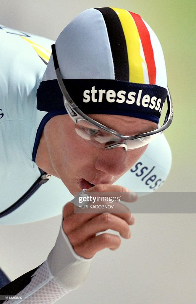 Belgium's <a gi-track='captionPersonalityLinkClicked' href=/galleries/search?phrase=Bart+Swings&family=editorial&specificpeople=7294720 ng-click='$event.stopPropagation()'>Bart Swings</a> races in the men's 10.000 m race at the ISU European Speed Skating Championships in Chelyabinsk, Russia, on January 11, 2015. AFP PHOTO / YURI KADOBNOV