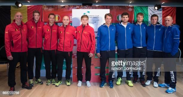 Belgium's captain Johan Van Herck Beligum's Joris De Loore Ruben Bemelmans Steve Darcis and David Goffin Italy's Paolo Lorenzi Simone Bolelli Andreas...