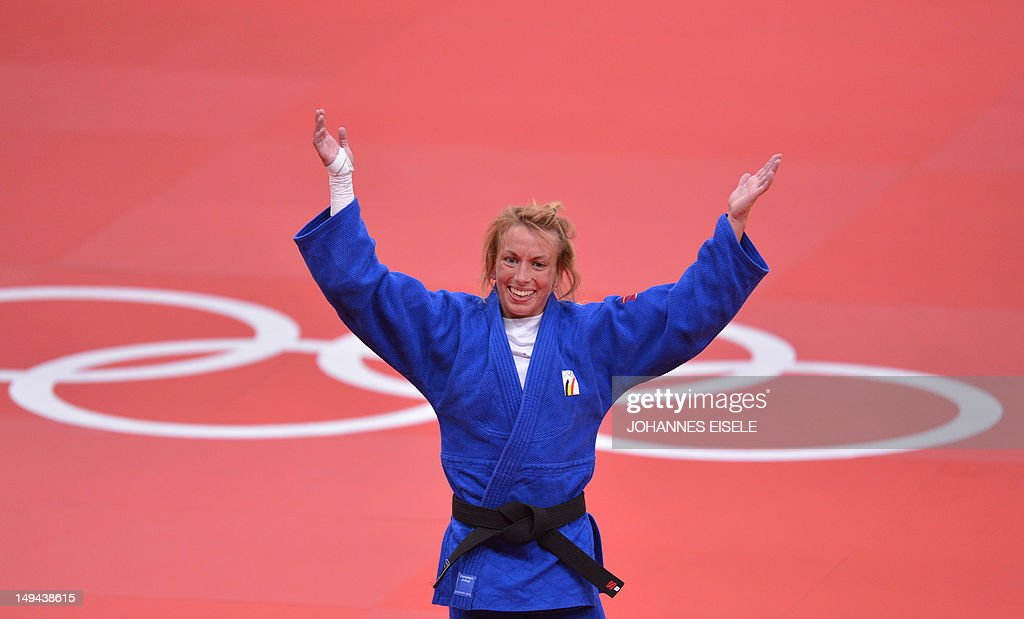Belgium's <a gi-track='captionPersonalityLinkClicked' href=/galleries/search?phrase=Charline+Van+Snick&family=editorial&specificpeople=6586925 ng-click='$event.stopPropagation()'>Charline Van Snick</a> celebrates after winning the women's -48 kgs contest bronze medal match against Argentina's Paula Pareto at the judo event at the London 2012 Olympic Games on July 28, 2012 in London. AFP PHOTO / JOHANNES EISELE