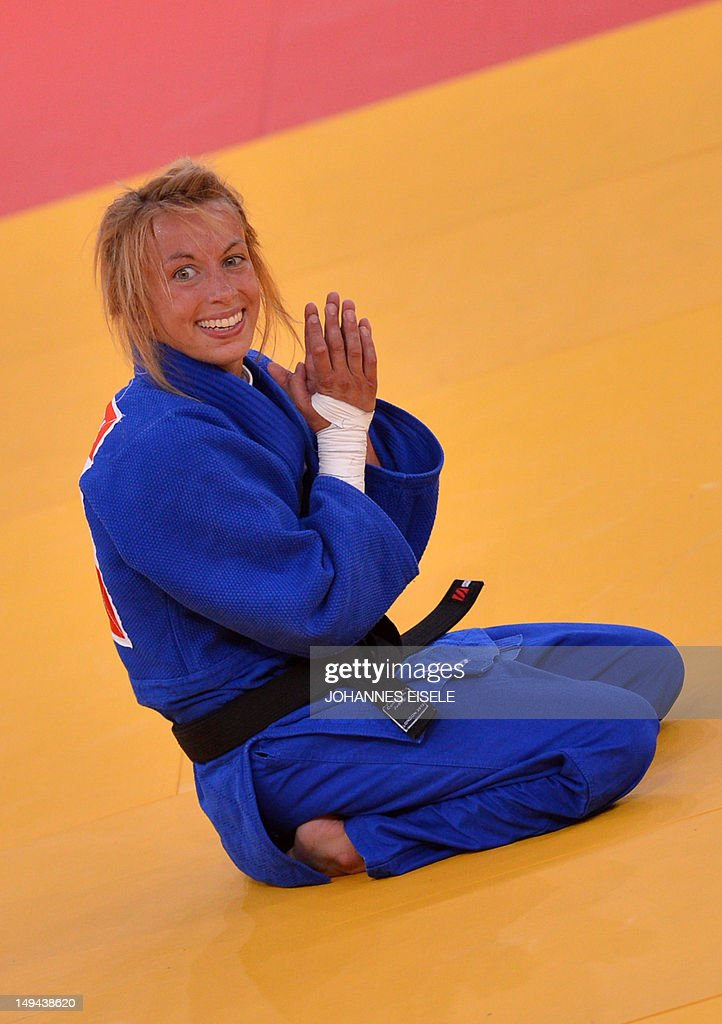 Belgium's <a gi-track='captionPersonalityLinkClicked' href=/galleries/search?phrase=Charline+Van+Snick&family=editorial&specificpeople=6586925 ng-click='$event.stopPropagation()'>Charline Van Snick</a> celebrates after winning the women's -48 kgs contest bronze medal match against Argentina's Paula Pareto at the judo event at the London 2012 Olympic Games on July 28, 2012 in London.