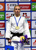 Belgium's Charline Van Snick poses with a gold medal after winning the 48 kg category competition at the European Judo Championships in Kazan on...