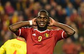 Belgium's Christian Benteke reacts during the Group B Euro 2016 qualifying football match between Belgium and Wales at the King Baudouin stadium in...