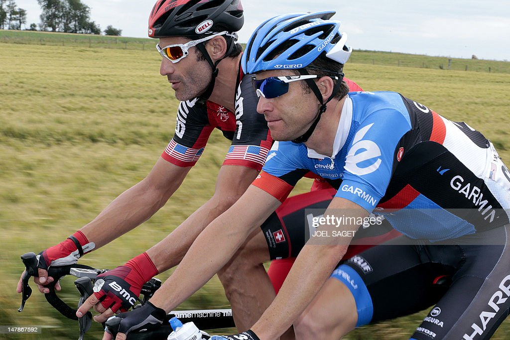 Belgium's Christian Vande Velde (R) and US George Hincapie ride in the 196,5 km and fifth stage of the 2012 Tour de France cycling race starting in Rouen and finishing in Saint-Quentin, northeastern France, on July 5, 2012. Four former teammates of US Lance Armstrong, George Hincapie, Levi Leipheimer, Christian Vande Velde and David Zabriskie, will receive six month bans after they confessed to doping and testified against the seven-time Tour de France winner, as reported on July 5, 2012 by De Telegraaf. They are said to have given evidence in the USADA investigation which has charged Armstrong with doping. All four riders are currently taking part in the Tour de France, but in recent weeks, USA Cycling revealed they opted not to be considered for the Olympic Games .