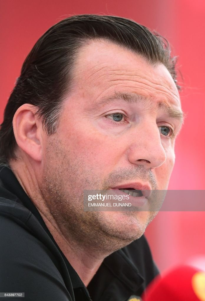 Belgium's coach Marc Wilmots gives a press conference during the Euro 2016 football tournament at Le Haillan, France, on June 28, 2016. / AFP / EMMANUEL