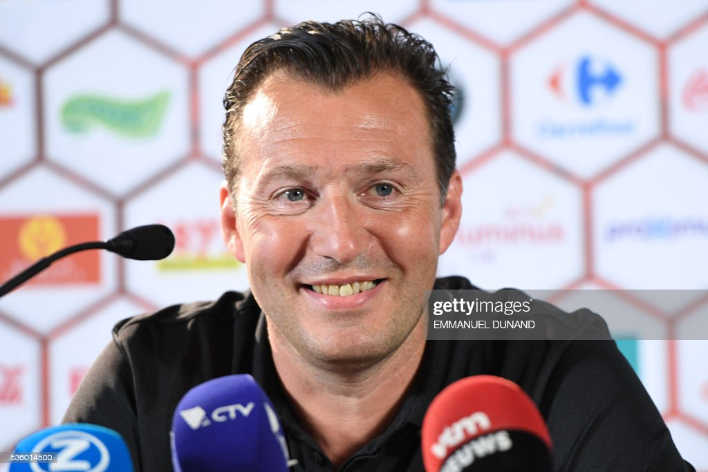 Belgium's coach Marc Wilmots gives a press conference prior to a training session of the Belgian football team ahead of the Euro 2016, on May 31, 2016, in Genk, Belgium. / AFP / EMMANUEL