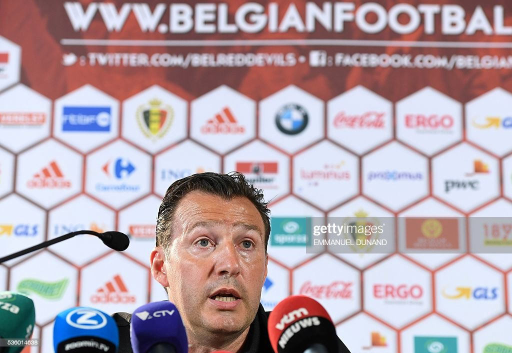 Belgium's coach Marc Wilmots gives a press conference prior to a training session of the Belgian football team ahead of the Euro 2016, on May 31, 2016, in Genk. / AFP / EMMANUEL