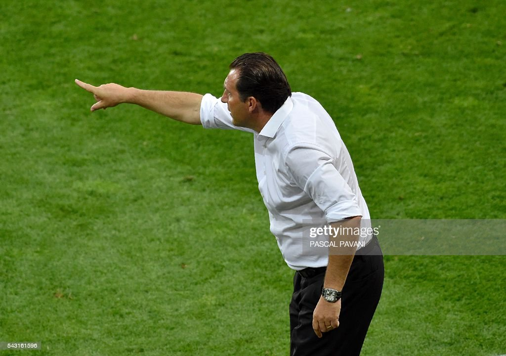 Belgium's coach Marc Wilmots instructs his players during the Euro 2016 round of 16 football match between Hungary and Belgium at the Stadium Municipal in Toulouse on June 26, 2016. / AFP / Pascal PAVANI