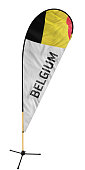 Official Flag imposed on a feather banner (bow flag) on a solid white background