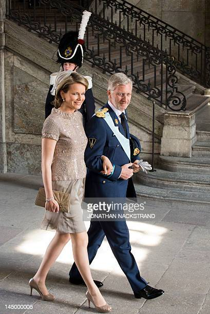 Belgium's Crown Prince Philippe and Princess Mathilde arrive on May 22 2012 for the christening of Princess Estelle of Sweden at the Royal Chapel in...