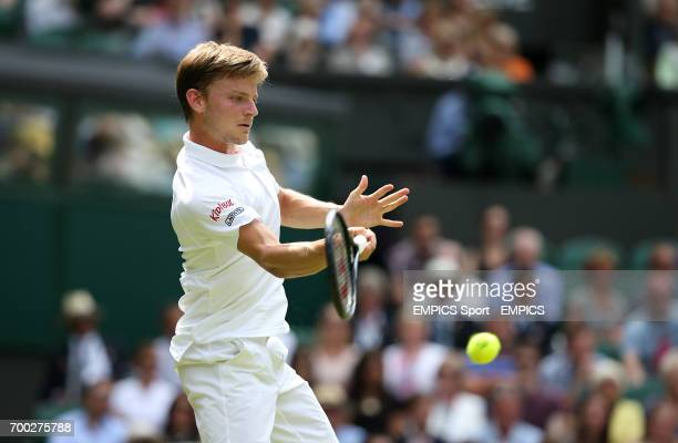 Belgium's David Goffin in action against Great Britain's Andy Murray