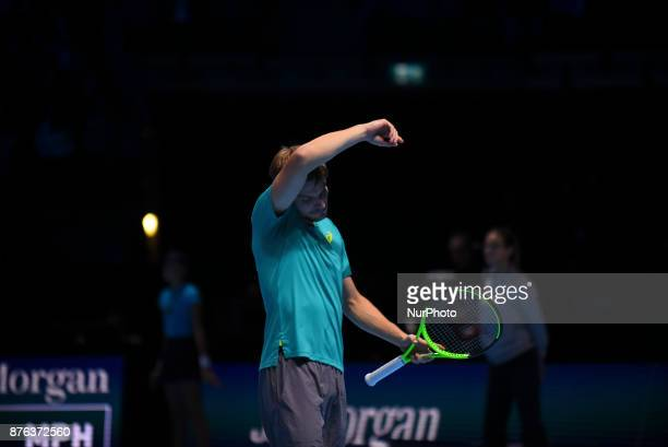 Belgium's David Goffin plays against Bulgaria's Grigor Dimitrov during their men's singles final match on day eight of the ATP World Tour Finals...