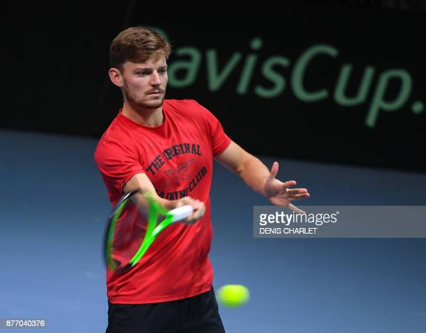 Belgium's David Goffin practices during a training session on November 21 2017 at the PierreMauroy stadium in Villeneuve d'Ascq ahead of the Davis...