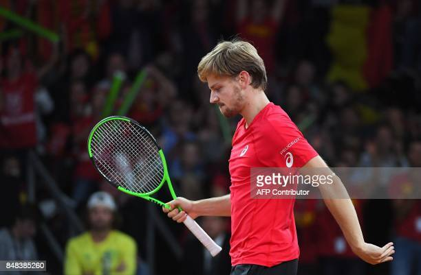 Belgium's David Goffin reacts during the Davis Cup semifinal tennis match between Belgium and Australia in Brussels on September 17 2017 / AFP PHOTO...