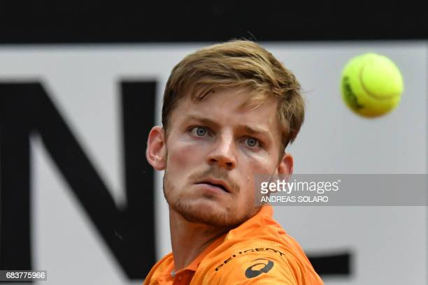 Belgium's David Goffin returns to Spain's Fernando Verdasco during their Rome ATP Tennis Open tournament on May 16 2017 at the Foro Italico in Rome /...