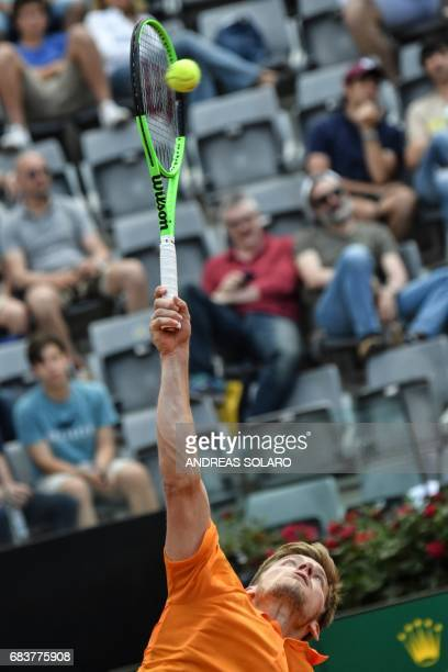 Belgium's David Goffin serves to Spain's Fernando Verdasco during their Rome ATP Tennis Open tournament on May 16 2017 at the Foro Italico in Rome /...
