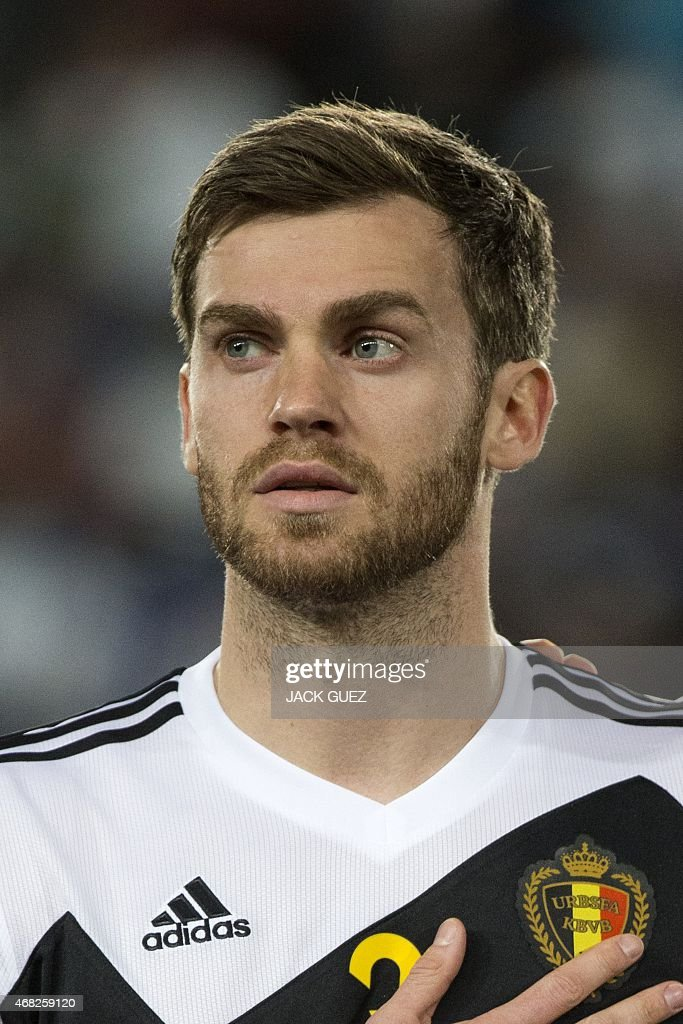 Belgium's defender <a gi-track='captionPersonalityLinkClicked' href=/galleries/search?phrase=Nicolas+Lombaerts&family=editorial&specificpeople=4332055 ng-click='$event.stopPropagation()'>Nicolas Lombaerts</a> stands on the pitch before the start of his Euro 2016 qualifying football match against Israel at the Teddy Kollek Memorial Stadium in Jerusalem on March 31, 2015.