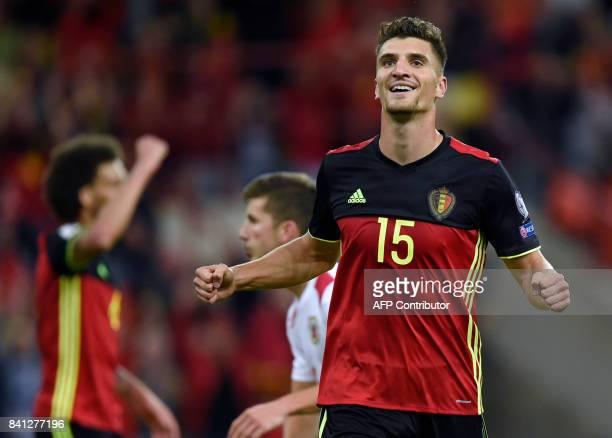 Belgium's defender Thomas Meunier celebrates after scoring during the 2018 FIFA World Cup qualifying football match between Belgium and Gibraltar at...