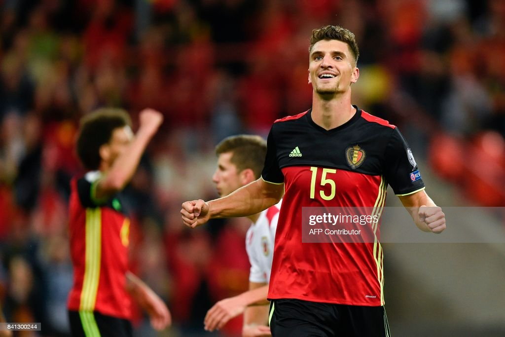 Belgium's defender Thomas Meunier celebrates after scoring during the WC 2018 football qualification football match between Belgium and Gibraltar, at the Dufrasne Stadium, on August 31, 2017 in Sclessin. /