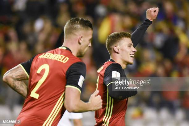 Belgium's defender Thorgan Hazard celebrates after scoring during the FIFA World Cup 2018 qualification football match between Belgium and Cyprus at...