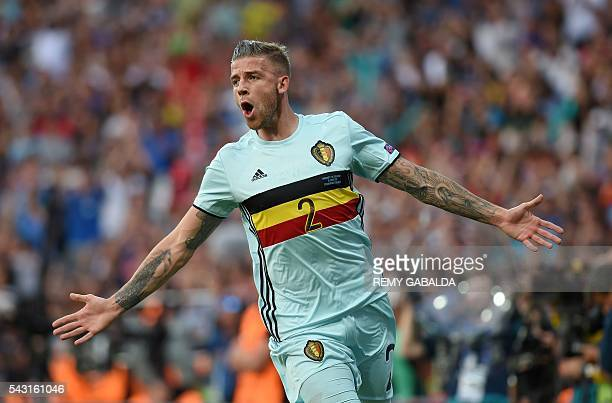 TOPSHOT Belgium's defender Toby Alderweireld celebrates after scoring a goal during the Euro 2016 round of 16 football match between Hungary and...