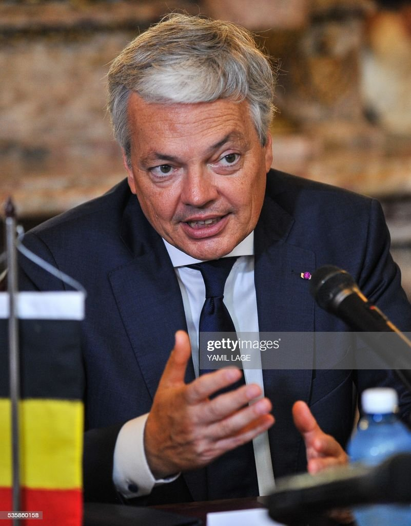 Belgium's Deputy PM and Minister of Foreign and European Affairs Didier Reynders speaks during a meeting with Cuban Foreign Affairs Minister Bruno Rodriguez (not framed) at the Foreign Ministry in Havana on May 30, 2016 / AFP / YAMIL