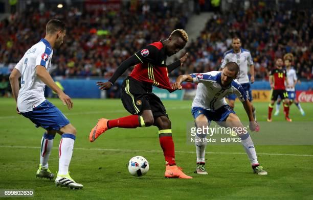 Belgium's Divock Origi and Italy's Leonardo Bonucci battle for the ball