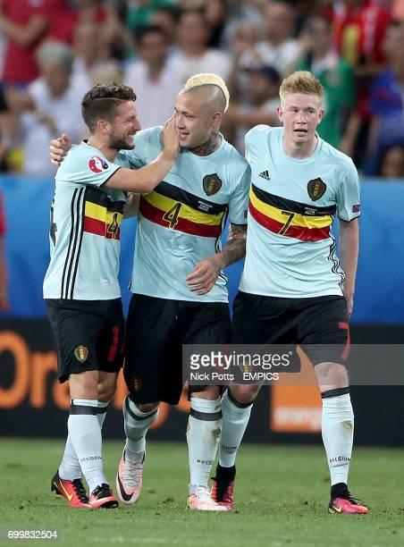 Belgium's Dries Mertens Belgium's Radja Nainggolan and Belgium's Kevin De Bruyne celebrate