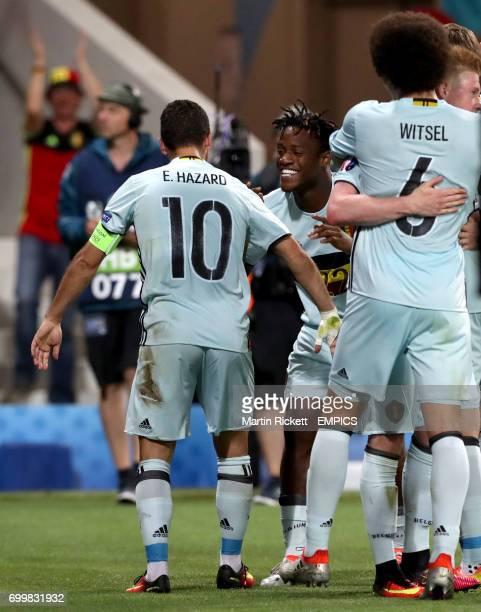 Belgium's Eden Hazard celebrates scoring his side's third goal of the game with teammate Michy Batshuayi